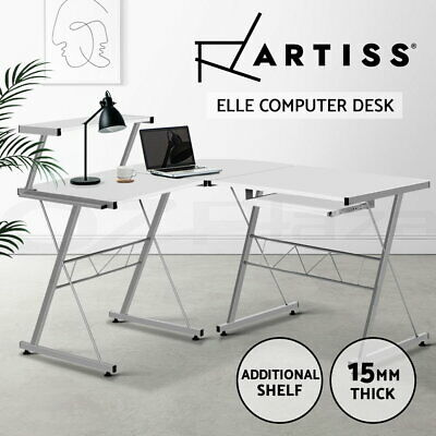 AU82.90 • Buy Artiss Office Computer Desk Corner Table Metal Pull-Out Keyboard Tray Top White