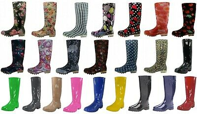$ CDN33.91 • Buy Shoes 18 Womens Rain Boots  Rubber Pull On Garden    8 Colors Size 5-11