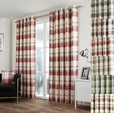 1 Pair Of Brittany Check Tartan Design Readymade Eyelet Ring Top Lined Curtains • 56.99£