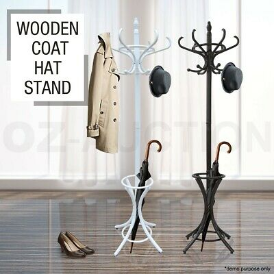 AU59.95 • Buy Tree Style 12 Hooks Coat Stand Hat Bag Clothes Rack Wooden Umbrella Base Ring