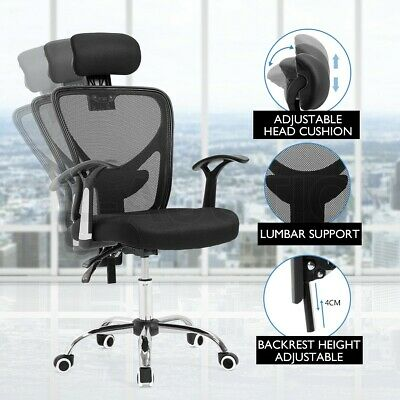AU119.95 • Buy Adjustable Breathable Ergo Mesh Office Computer Chair W/ Lumbar Support - Black