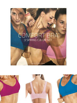 View Details Pack Of 3 Seamless Bras Wire Free Stretch Soft Cup Comfort Flexi Crop Top • 4.95£