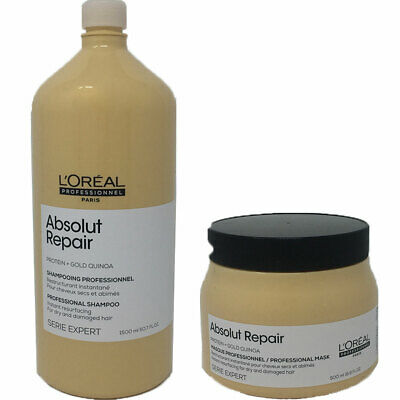L'OREAL Absolut Repair Gold Quinoa + Protein Shampoo 1500ml & Masque 500ml Duo • 35.60£