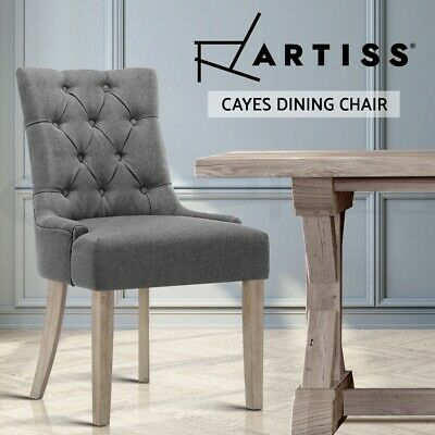AU151.95 • Buy Artiss Dining Chairs French Provincial Chair Wooden Fabric Retro Kitchen Grey