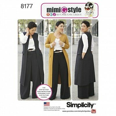 Simplicity Ladies Sewing Pattern 8177 Trousers, Coat, Waistcoat & Jersey ... • 10£