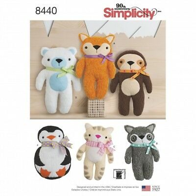 Simplicity Craft Easy Sewing Pattern 8440 Stuffed Animal Soft Toys (Simplicit... • 6£