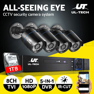 AU245.99 • Buy UL-tech CCTV Camera Home Security System 8CH DVR 1080P HD With 1TB Hard Drive