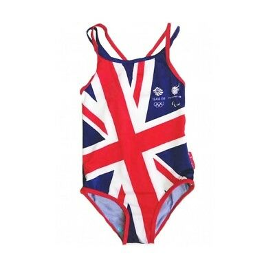GIRLS OFFICIAL TEAM GB OLYMPIC GREAT BRITAIN UNION JACK SWIMMING COSTUME 1-5 Yrs • 1.69£