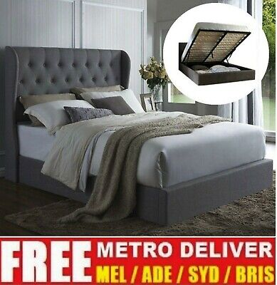 AU369 • Buy Wimbledon Gas Lift Double Queen King Size Grey Charcoal Beige Fabric Bed Frame