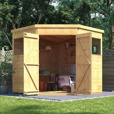 BillyOh 7x7 Tongue & Groove Expert Corner Pent Wooden Workshop Tool Store Shed • 689£