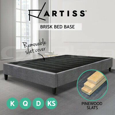 AU189.95 • Buy Artiss Bed Frame QUEEN DOUBLE KING Size Bed Base Fabric Platform Mattress Grey