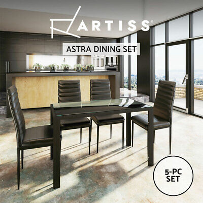 AU279.90 • Buy Artiss Dining Table And Chairs 4 Set Of 5 Glass Tables Leather Seat Chair Black