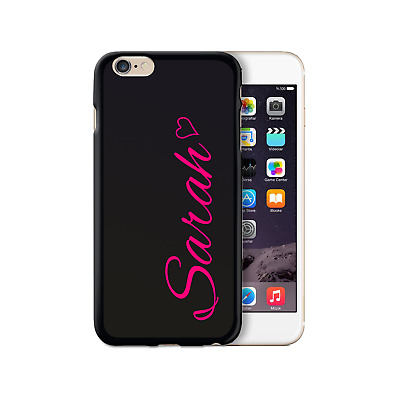 AU13.19 • Buy Personalised Initial Phone Case With Pink Heart And Name On Black TPU Soft Cover