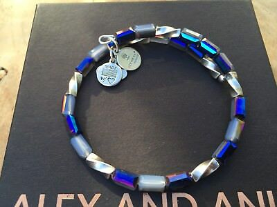 ALEX And ANI Indie Spirit VINTAGE 66 PACIFIC BLUE ALLURE Beaded Wrap BRACELET 💎 • 34£