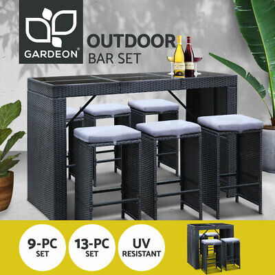 AU567.95 • Buy Gardeon 9/13pcs Outdoor Bar Table And Stools Set Chairs Patio Dining Furniture
