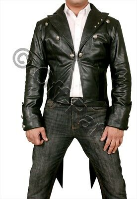 Mans 100% REAL LEATHER Black TAILCOAT Steampunk Jacket Morning Dress Coat  GOTH • 117.20£