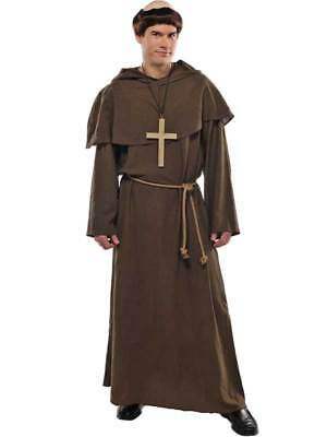 Adult Friar Tuck Robin Hood Costume Mens Monk Fancy Dress Outfit + Wig Religious • 19.49£
