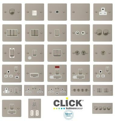 Click Define 'INGOT' Flat Plate Pearl Nickel Switches And Sockets With White Tri • 11.02£