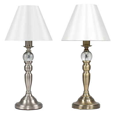 £27.99 • Buy Large Chrome / Antique Brass & Glass Ball Touch Dimmer Table Lamp Bedside Lights
