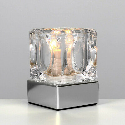Modern Ice Cube Touch Table Lamp Dimmable Bedside Lounge Light Glass Shade Home • 9.99£