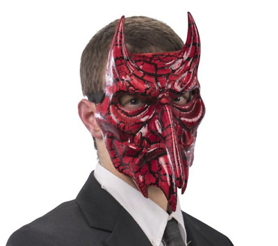 £11.98 • Buy Red Devil Masquerade Mask Crackled Effect Venetian Halloween Male Masked Ball