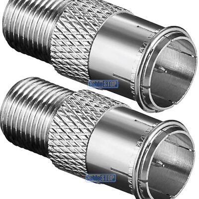 £2.65 • Buy COPPER 2 X F TYPE MALE QUICK TO FEMALE PUSH ON FAST FIT TV Aerial Sky Connector