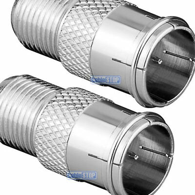 £2.35 • Buy ZINC 2 X F TYPE MALE QUICK TO FEMALE PUSH ON FAST FIT TV Aerial Sky Connector