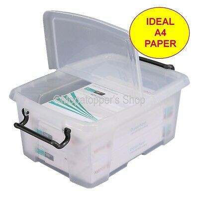 Pack Of 5 Clear Plastic Storage Boxes Box & Lid 12 Litre Ideal Size For A4 Paper • 23.99£