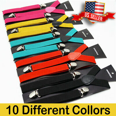 $6.49 • Buy Men Women Suspenders - Unis Clip-on Suspender Adjustable - Elastic  Black - Y