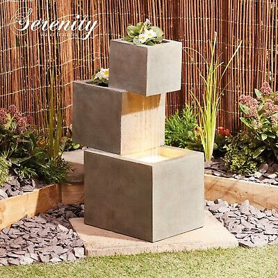 £134.99 • Buy Serenity Cascade Garden Water Feature 74cm LED Ornament Fountain Planter NEW