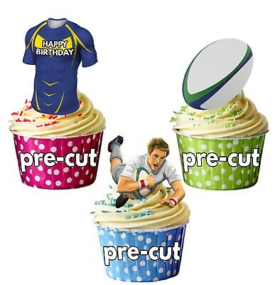 PRECUT Birthday Rugby Party Pack Cup Cake Toppers Leeds Rhinos Colours • 3.49£