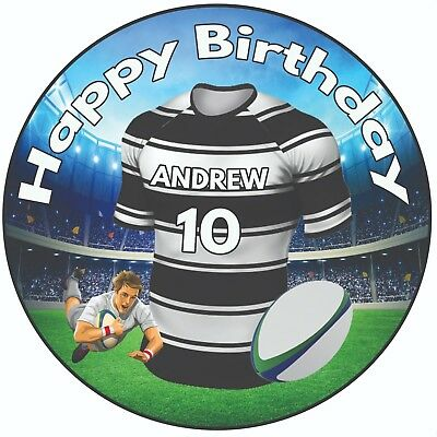 £5.49 • Buy Personalised Birthday Cake Topper 8  Icing Rugby Shirt Hull FC Colours