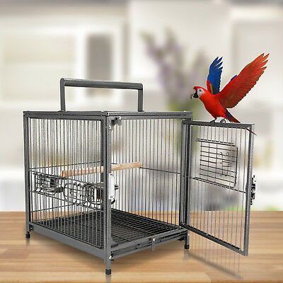 Parrot Cage Bird Carrier Wooden Perch Cup Holder Handle Metal Black Travel • 48.99£