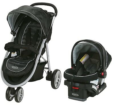 Graco Baby Aire3 Travel System Stroller With SnugLock 30 Infant Car Seat Gotham • 213.09£
