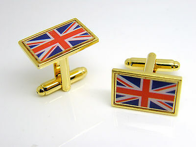 £4.99 • Buy Union Jack Uk Gb Flag Cufflinks Mens Gold Tone Novelty In Gift Pouch
