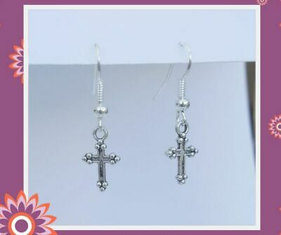 £2.50 • Buy Silver Cross Earrings Crosses Religious Silver Gothic Goth Dangly Drop Hook