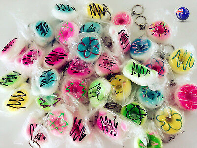 AU7.85 • Buy 3x Mini Slow Rising Donuts Squishies Squishy Keyring Key Ring Holder Squeeze Toy
