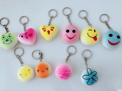 AU6.50 • Buy 3 Cute Heart Or Round Smile Face Squishies Squishy Keyring Key Strap Squeeze Toy