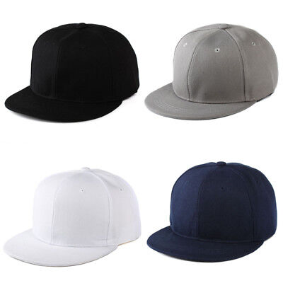 New 4 Color Unisex Plain Fitted Cap Baseball Hats Solid Flat Bill Visor  Blank • 3.03 909b03ffee5