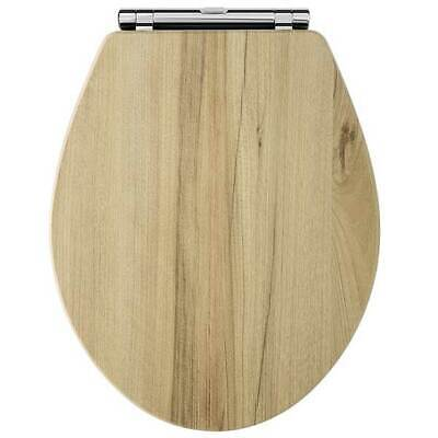 Hudson Reed Richmond Soft Close Toilet Seat Natural Walnut Effect Chrome Hinges • 68.95£