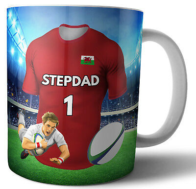 Stepdad Rugby Mug Birthday Fathers Day Christmas Gift - Any Team Shirt / Colours • 12.95£