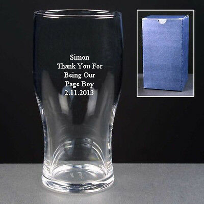 Personalised 1 Pint Lager Beer Glass Engraved Wedding Page Boy Thank You Gift • 6.99£