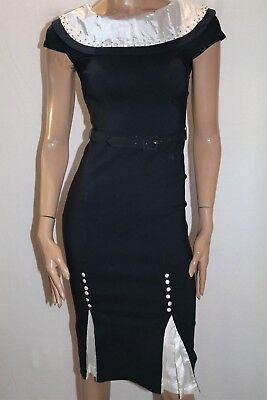 Bettie Page By Tatyana Navy Blue Pin Up Style Pencil Dress Size S BNWT #HG29 • 41.39£