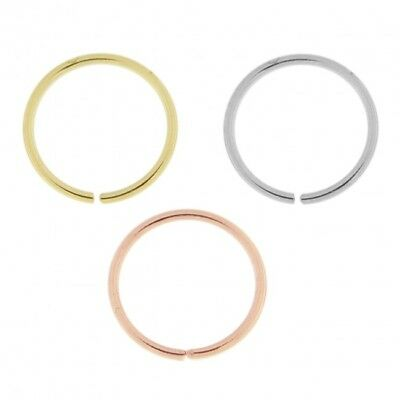 AU15 • Buy 1 Nose Hoop Continuous Ring Real 9K Yellow White Rose Gold 18g 20g 22g 24g  #9k2