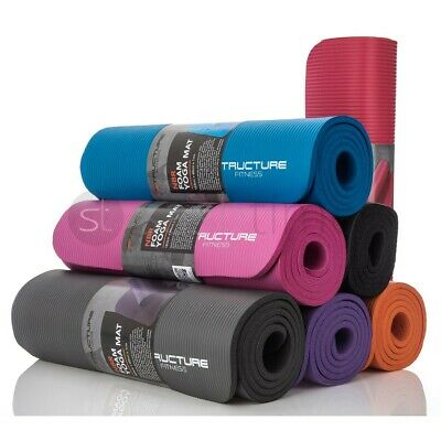 £9.95 • Buy 60x 185cm Yoga Mat 10mm Thick Gym Exercise Fitness Pilates Workout Mat Non Slip