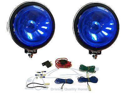 2 X BLUE Lens, 4  Chrome / Silver Twin Spot Lamps Lights For Car + Wiring Kit • 23.99£