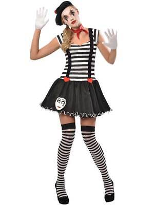 £10.99 • Buy Adult Miss Mime Artist Costume Womens French Street Circus Fancy Dress Ladies