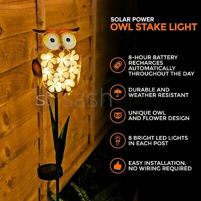 8xLED Garden Owl Solar Lights Patio Yard Lawn Waterproof Stake Lamp Party Decor • 14.95£