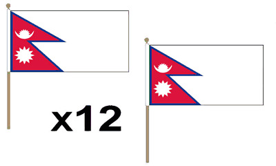 Nepal Waving Hand Flag 12 Pack Decoration Party Nepalese National South Asia • 9.99£
