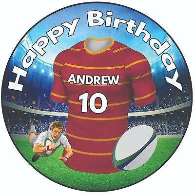 £5.49 • Buy Personalised Birthday Cake Topper 8  Icing Rugby  Huddersfield Giants Colours